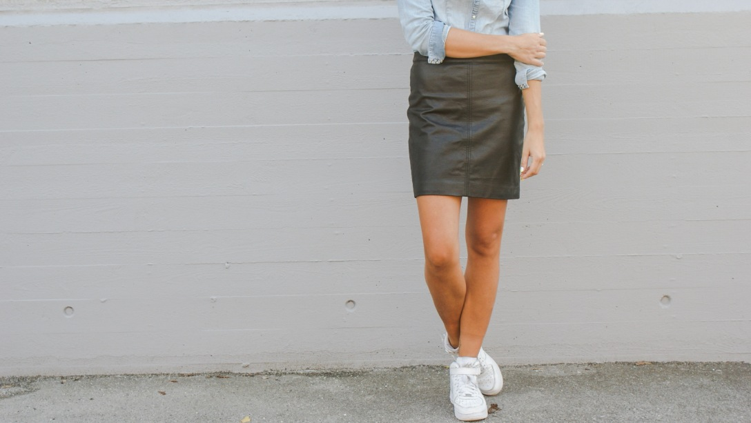 denim leather skirt zara streetstyle autumn